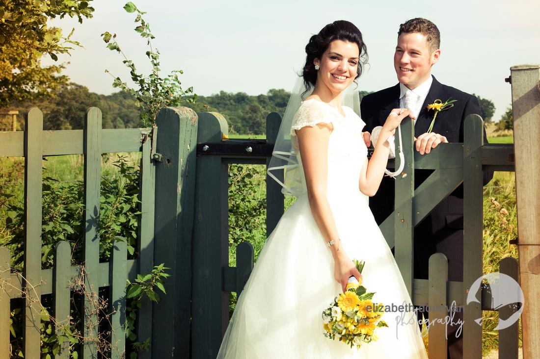 Bride and Groom, gate, sun, yellow, gerbera, highworth